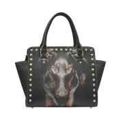 D-Story Custom Cool Doberman PU leather Rivet Shoulder Handbags