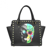 D-Story Custom Colourful Abstract Skull PU leather Rivet Shoulder Handbags