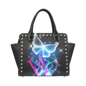 D-Story Custom Butterfly star light PU leather Rivet Shoulder Handbags