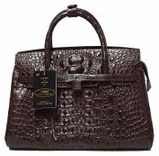 Authentic M Crocodile Skin Womens Hornback Locked Clutch Bag Purse Large Brown Handbag