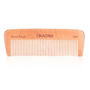 OKAZAKI Beard Comb, High Quality Men's Comb - Handmade Peach Wood, Anti-Static, No Scratchy Plastics - Ideal for Shaping & Grooming Beards & Moustaches