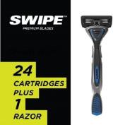 SWIPETM Men's 6-Blade Razor with Trimmer - 24 Cartridges + 1 Handle