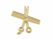 MD Barber Shear & Comb Lapel Pin, Gold
