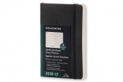Moleskine 2016-2017 Weekly Notebook, 18m, Pocket, Black, Soft Cover