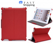 Red Coutour Back Shell Case For Apple iPad 3rd, 4th Generation With Stand Feature