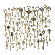 KING DO WAY 69pcs Antique Bronze Vintage Skeleton Keys Charm Set DIY Handmade Accessories Necklace Pendants