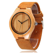 CUCOL® Mens Bamboo Wooden Watches Genuine Leather Strap Watch Japanese Quartz Movement Gift For Groomsmen