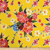 Oil Cloth Hibiscus Yellow Fabric By The Yard