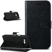 Galaxy Core Prime Case,ikasus Embossing Butterfly PU Leather Fold Wallet Pouch Case Premium Leather Wallet Flip Stand Credit Card Holders Case Cover for Samsung Galaxy Core Prime G360F,Black