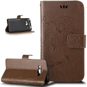 Galaxy Core Prime Case,ikasus Embossing Butterfly PU Leather Fold Wallet Pouch Case Premium Leather Wallet Flip Stand Credit Card Holders Case Cover for Samsung Galaxy Core Prime G360F,Light Brown