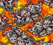 Hydrographic Film - Water Transfer Printing - Hydro Dipping - Flaming Dice - 1 Sq. Metre