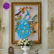 New Ribbon Embroidery Kit Handmade Peacock Oriental Wall Hanging Art Asian Decoration