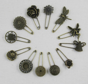 WellieSTR Lot of 12PCS Vintage Style Steampunk Bronze Brooch Safety Pin brooch pin Steampunk Findings,Bronze Vintage Hijab Pins /Brooch Pins/Safety Pins