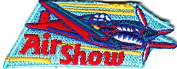 """""""AIR SHOW"""" w/aeroplane- Iron On Embroidered Applique /Aircraft, Transportation"""