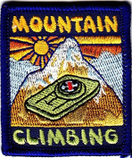 """MOUNTAIN CLIMBING""- Iron On Embroidered Applique Patch- Sports, Hiking, Outdoor"