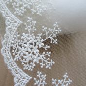 3 Yards 11cm Wide Cotton Embroidered Lace Trimming For Garment And DIY Craft Supply In White
