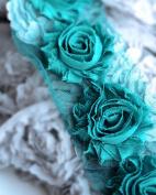 1 Yard Shabby Rose Trim 14 Shabby Flower Shabby Frayed Chiffon Flowers Teal Blue Wedding Bridal Hair Accessory Headband LA065