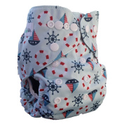 AngelicWare Cloth Nappies One Size. Reusable Baby Bamboo Pocket Nappy Cover + 5 Layer Insert. Absorbent leak proof aio. Best Designer Print Nappies Gift. Keep them Happy & Dry