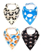 Baby Bandana Drool Bibs Animals 4 Pack Unisex Absorbent Adjustable Baby Gift Set