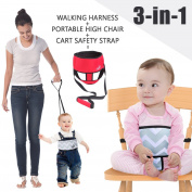Umin 3 in 1 Travel/Home Portable High Chair Belt + Toddler Safety Walking Harness Wrap + Shopping Cart Safety Strap, Lightweight & Washable,Red
