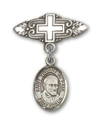 ReligiousObsession's Sterling Silver Baby Badge with St. Vincent de Paul Charm and Badge Pin with Cross