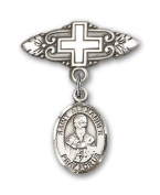 ReligiousObsession's Sterling Silver Baby Badge with St. Alexander Sauli Charm and Badge Pin with Cross