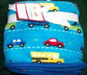 Boys Blue Car and Truck 36 x 36 Soft Cuddly Blanket