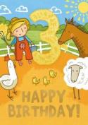 Farm (Age 3) - Happy Birthday Card-Book