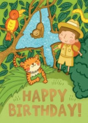 Jungle (Age 4) - Happy Birthday Card-Book