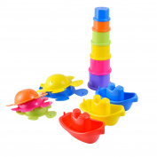 Large 12pc Pack of Bath Toys Play Set with Stacking Cups, Boats and Turtles