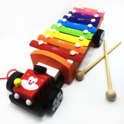 Mcupper-Wooden 8 Notes Tap-a-tune Xylophone Glockenspiel Knock Piano with Pull Along Truck Tractor Trolley for Kids Cartoon Design