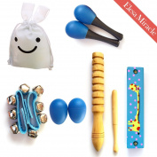 Elesa Miracle Mini Band Musical Instruments Value Pack, 1 Wood Harmonica + 7 Rhythm Toys [2 Maracas, 2 Egg Shakers, 2 Wrist Bells, 1 wooden guiro], Blue, with a Rabbit-Shaped Cloth Pouch