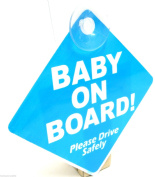 Blue Baby On Board Sign Suction Cup Vehicle Safety Bright Baby On Board Car Sign