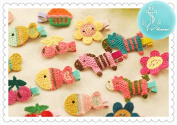 Rimobul 15 PCS Handmade Crocheted Animal Theme Mini Hair Clips for Kids
