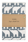 Milkbarn Organic Cotton Hooded Towel, Blue Elephant