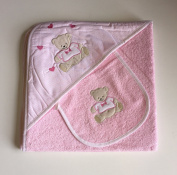 Baby cuddle towel and bib, pink teddy design, towelling baby hooded towel and bib, baby gift set