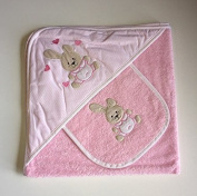 Baby cuddle towel and bib, pink bunny design, towelling baby hooded towel and bib, baby gift set