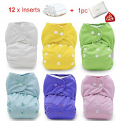 iZiv(TM) Newborn Organic with 12 Inserts Infant Waterproof/Adjustable/Reusable/Washable Pocket Cloth Nappy Fit Babies 0-3 Years