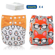 iZiv(TM) Newborn Organic with 4 Inserts Infant Waterproof/Adjustable/Reusable/Washable Pocket Cloth Nappy Fit Babies 0-3 Years