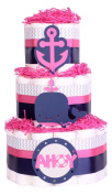 Girls Nautical Seaside Baby Shower Nappy Cake - Navy Blue Pink chevron grey hamper gift