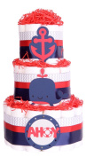 Nautical Seaside Baby Shower Nappy Cake - Navy Blue Red chevron grey hamper gift