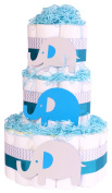 Elephant Baby Shower Nappy Cake - Boys Blue chevron grey hamper gift