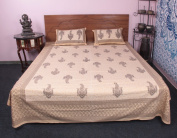 Ethnic 100 % cotton Traditional Printed 3 Pcs Bedding Set Bed Cover
