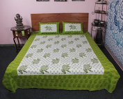 Green Elephant Printed Indian Soft Cotton 3 Pc Bedding Set Cum Bed Cover