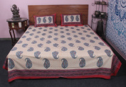 Indian Keri Printed 100 % cotton handmade 3 Pcs Bed cover With Pillow Case