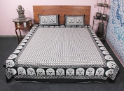 Stunning Indian Traditional Printed King Size Cotton 3 Pc Bedding Set Cum Bed Cover
