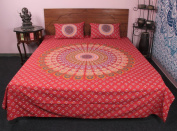 Traditional 3 Pcs Cotton Ethnic Printed Bed Spread Cum Bedding Set With Pillow Case
