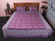 Amazing Pink Elephant Printed King Size 3 Pc Bed Cover Set New 100% Cotton With Pillow Case
