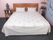 White Coloured Traditional Floral Printed 100 % cotton 3 Pcs Bedding Cover Bedding set