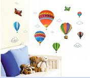 Colourful Air Balloons Wall Sticker House Decal Removable Living Room Wallpaper Bedroom Kitchen Art Picture PVC Murals Sticks Window Door Decoration + 3D Frog Car Sticker Gift